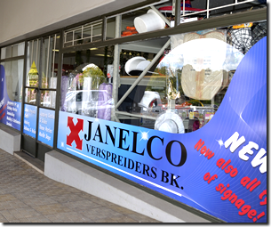 Janelco offers a wide range of Signage printing services in the Lowveld - Ehite River including sign boards , branding, and shop front signs and contra-vision window signs
